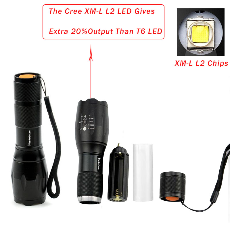3 PCS Brightest Tactical Flashlight 8000LM CREE XML-L2 LED Flashlight High Powered, Zoomable Torch For Emergency Camping Hiking