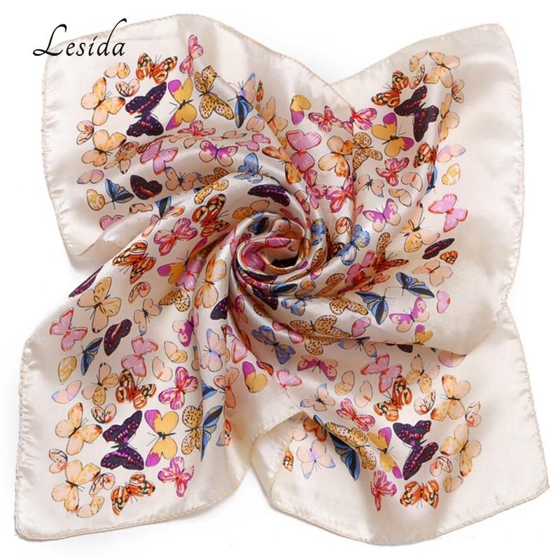 LESIDA 2018 Spring Women Silk Scarf Small Neck Kerchief Foulard Femme Fashion Square White Butterfly Scarves 53*53CM ZS5023