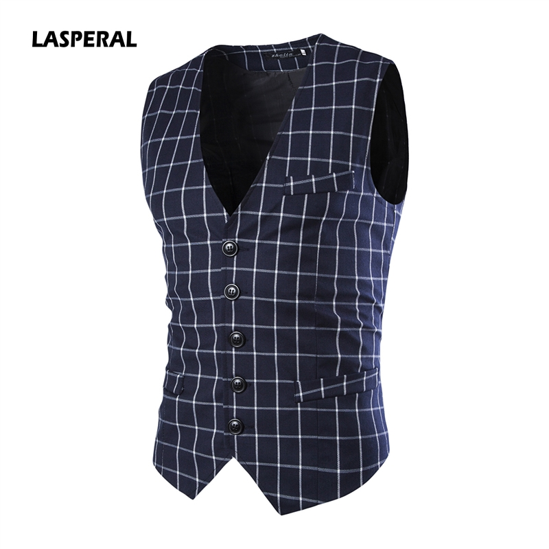LASPERAL Formal Business Vest Men Fashion Plaid Dot Print Waistcoat Sexy Sleeveless Vest Causal Slim Fit Social Vests&Waistcoats