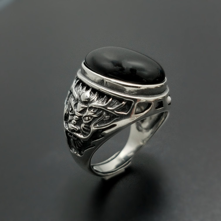 Black Natural Onyx Stone Solid Silver 925 Rings Men China