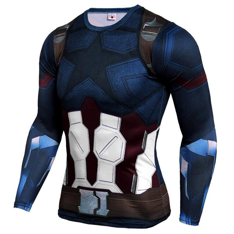 Mens Compression   Shirt   Superhero Superman Capitan America Iron Man 3D   T     Shirt   Brand Clothing Fitness Men Long Sleeve   T  -  Shirt