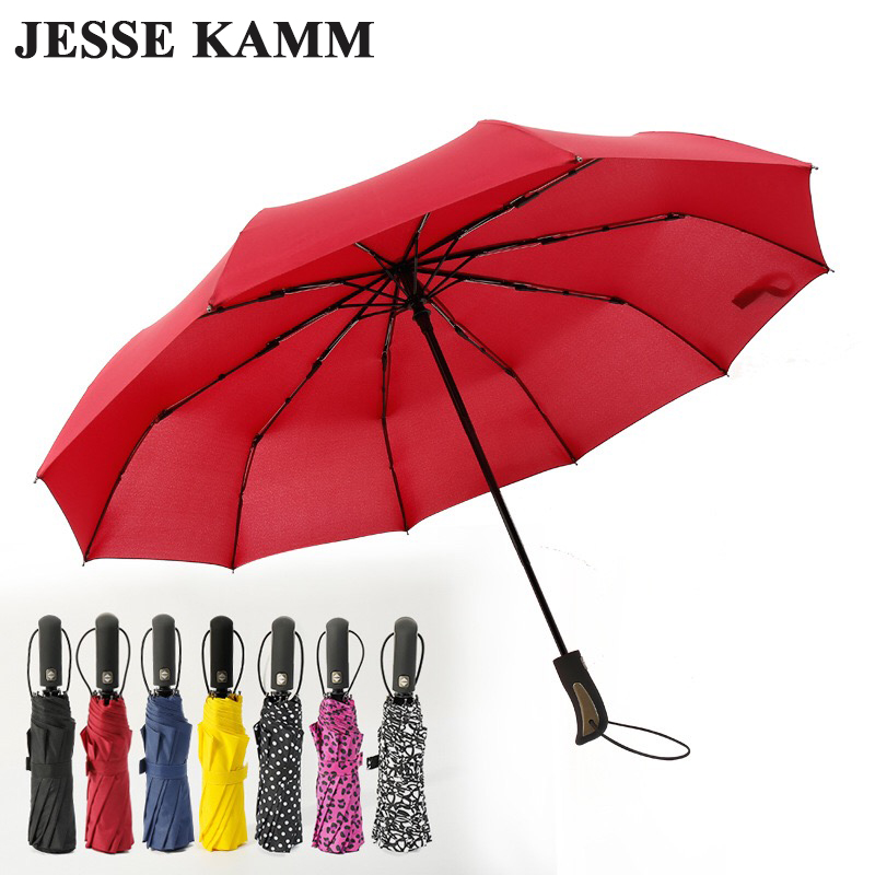 JESSEKAMM New Arrive Auto Open Auto Close Folding Compact 10 Spokes Strong Windproof Black Umbrellas Unisex 1-2 People Travel