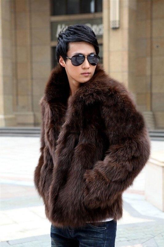 Brand New Men Coreano Faux Fur di Inverno E La Primavera Giacca Erba in pelle Pelliccia di Volpe Cappotto di Grandi Dimensioni Casuale Nero/Bianco/Marrone Cappotti J465