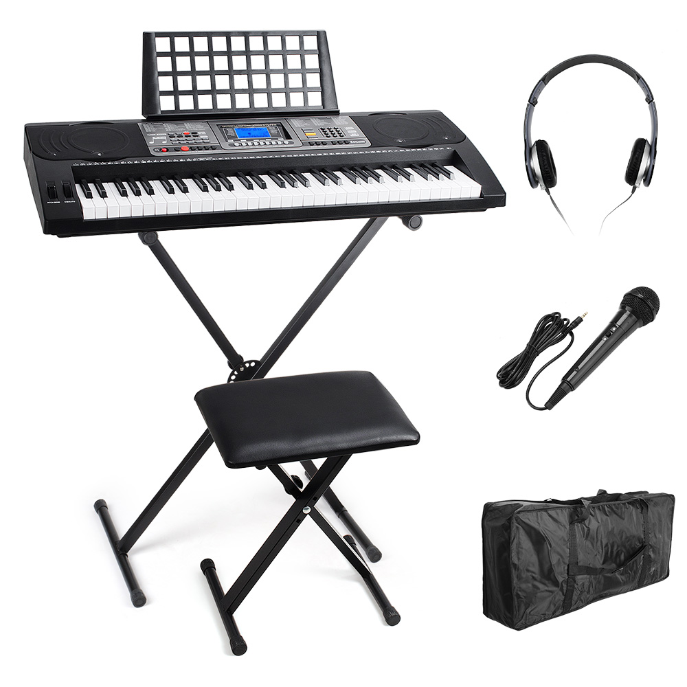 61 Keys MK 816 USB MIDI(APP) Electric Lighting Keyboard Piano Digital with Stand, Bench, Microphone, Headphone, Keyboard Bag