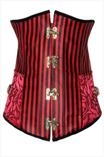Sex court steampunk corset tops overbust Plus Size Waist Ttraining Corselet Steel Bone red rivet with T-string Gothic Bustiers