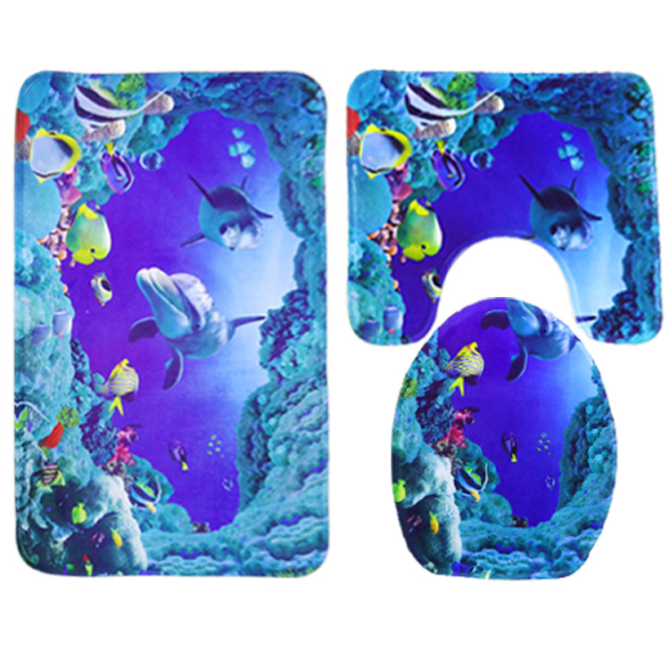 45 75cm 50 80cm Dolphin Printed 3 Pieces Polyester Non Slip Bathroom Carpet And Toliet Rugs Water Absorption Mat Set In Bath Mats From Home