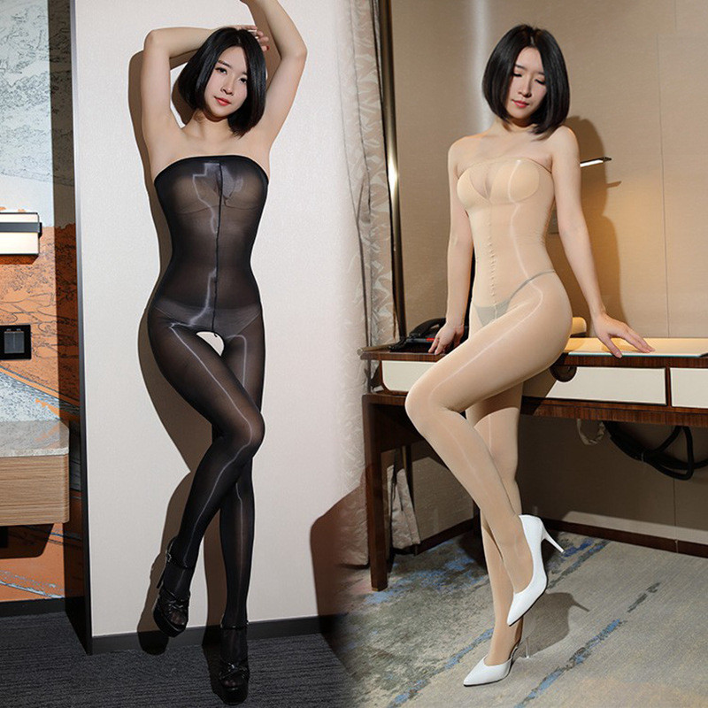 Sexy Lingerie For Women 8D Thin Elastic Sexy Tights Oil Glossy High Waist Sexy Pantyhose Open Crotch Female Nylon Stockings