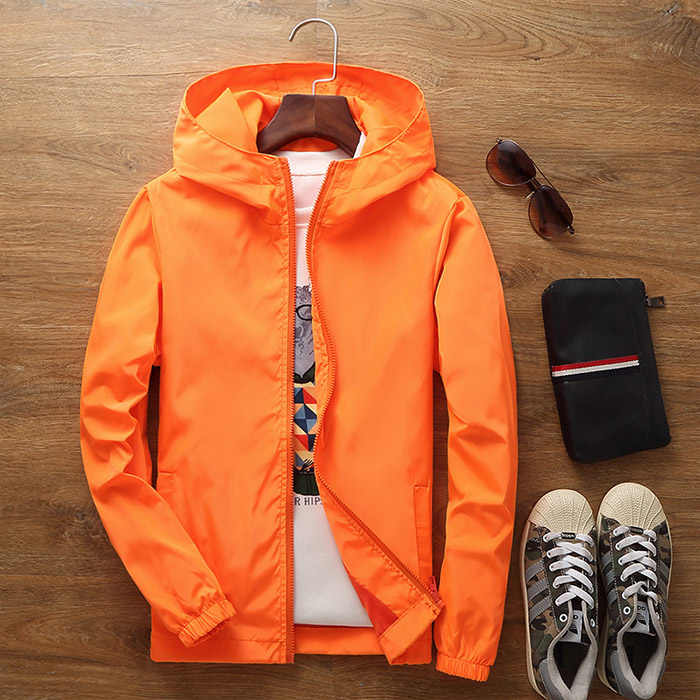 花のジャケット 2019 秋のメンズフード付きジャケットスリム長袖男性のファッショントレンチの服