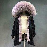 Maylofuer Съемная натуральный Лисий Мех внутренняя куртка реального енота меховой воротник пальто с капюшоном Для женщин меховые парки теплые