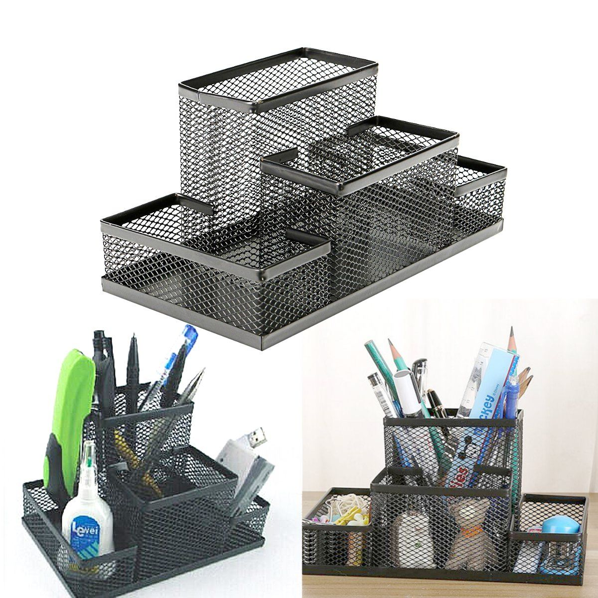 Metal Mesh Holder Pencil Pot Desktop Pen Iron Combination Pen Stands Set Holder Organizer Office Home Stationery Storage Case