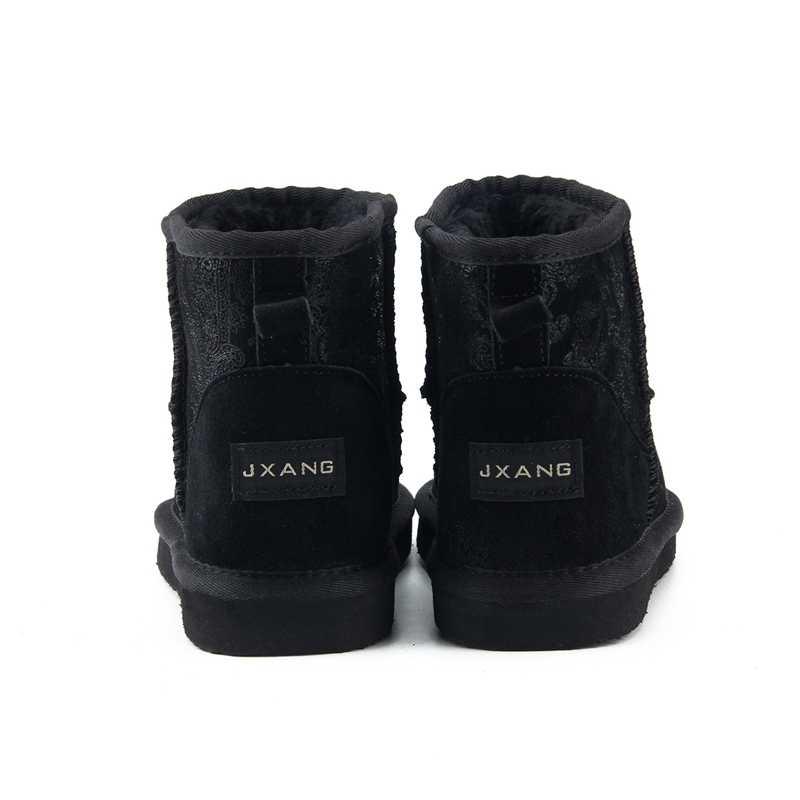 JXANG marca envío gratis Hot Sale botas de nieve para mujer 100% botas de cuero de vaca genuinas botas de invierno calientes zapatos de mujer