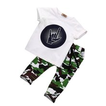 2017 Toddler Baby Kids Boys Clothes Tops T-shirt + Camouflage Panties Outfits Set