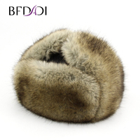 BFDADI New Arrival Women Natural Faux Fur Hats for men Brand Famous Male Hat Winter Warm Faux Leather Fur Bomber Hats Big Size