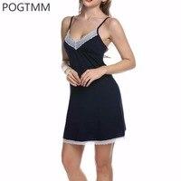 Women Night Dress Sexy Spaghetti Strap V Neck Lace Splicing Nightgrown Robe Sleepwear Nightwear Pijama Chemise