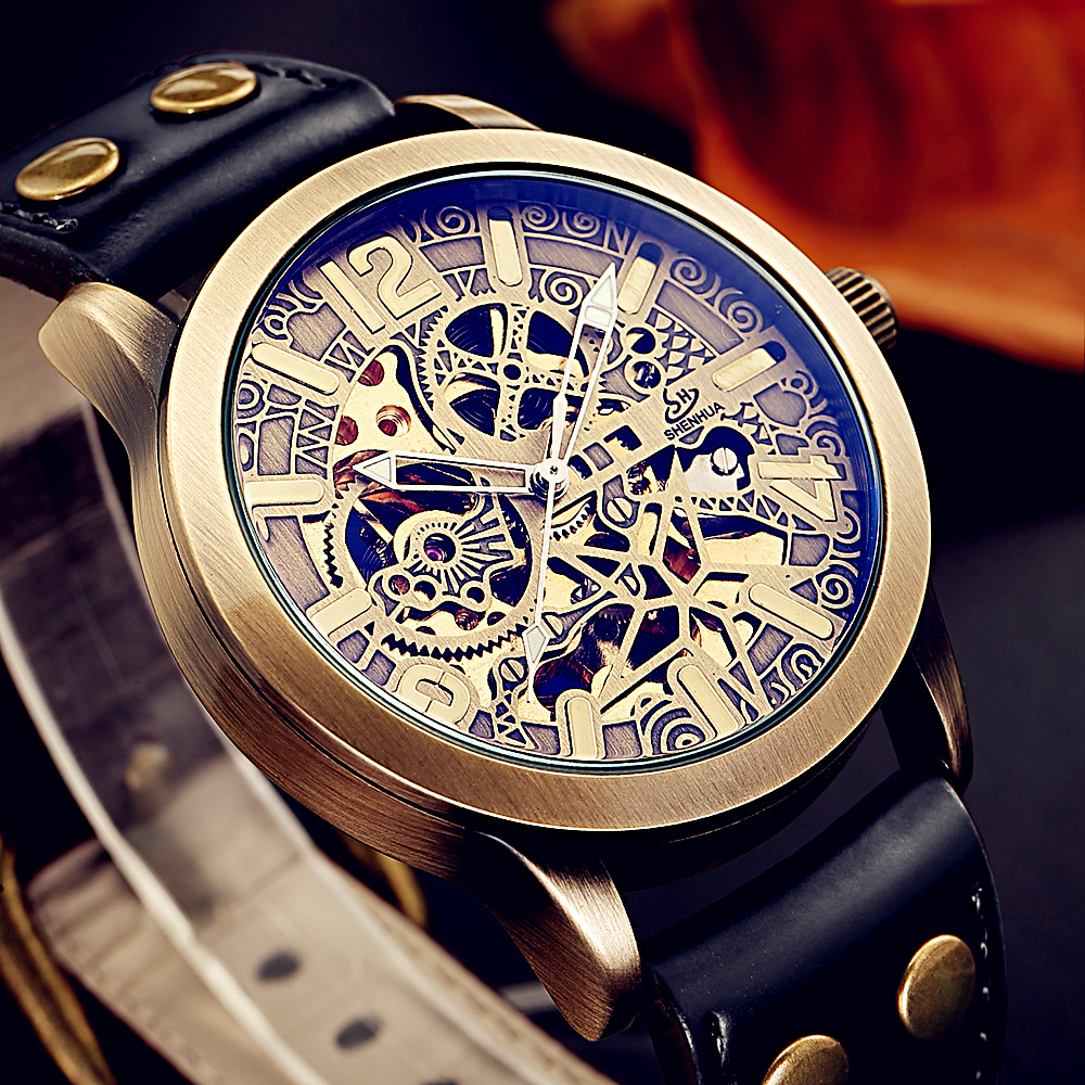 Luxury Brand Hollow carved Men's Retro Bronze Automatic Watches Skeleton Black Leather Mechanical Wristwatch Relogio Masculino baogela hollow skeleton automatic mechanical watches mens top brand luxury leather band gold business wristwatch