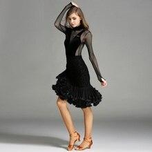 black latin dance competition costumes dance wear latin salsa dress fringe rumba dance dresses tango dance clothes samba