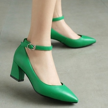 Fashion Belt Buckle Design Sexy Pointy Toe Thick Heels Women Pumps 2017 Spring Newest Beautiful Elegant Party Banquet Shoes