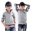 Niño faux de dos piezas suéter suéter de algodón 100% niños camisa de manga larga