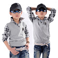 child faux two piece sweater 100% cotton sweater child long-sleeve shirt