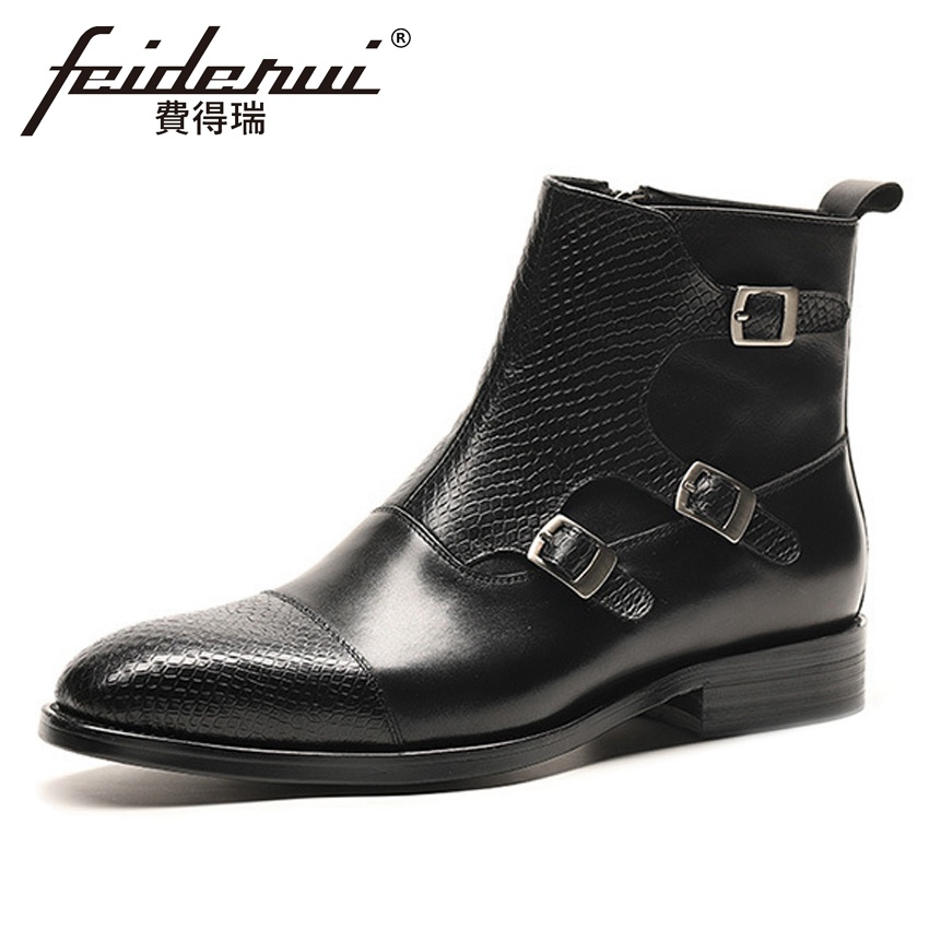 New Vintage Genuine Leather Mens Monk Straps Ankle Boots Pointed Toe Full Grain Leather Cowboy Riding Shoes For Man HMS40New Vintage Genuine Leather Mens Monk Straps Ankle Boots Pointed Toe Full Grain Leather Cowboy Riding Shoes For Man HMS40