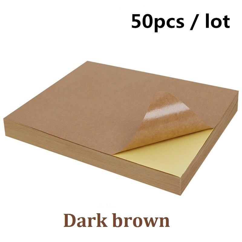 Купить с кэшбэком Free shipping 50 pcs/lot A4 White paper stickers self adhesive handwriting inkjet laser printer brown A4 printing stickers