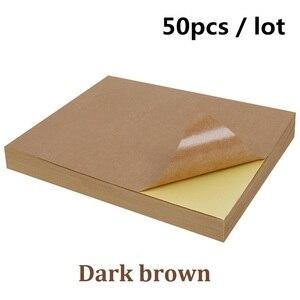 Image 5 - Ücretsiz kargo 50 adet/grup A4 Beyaz kağıt etiketleri kendinden yapışkanlı el yazısı mürekkep püskürtmeli lazer yazıcı kahverengi A4 baskı çıkartma