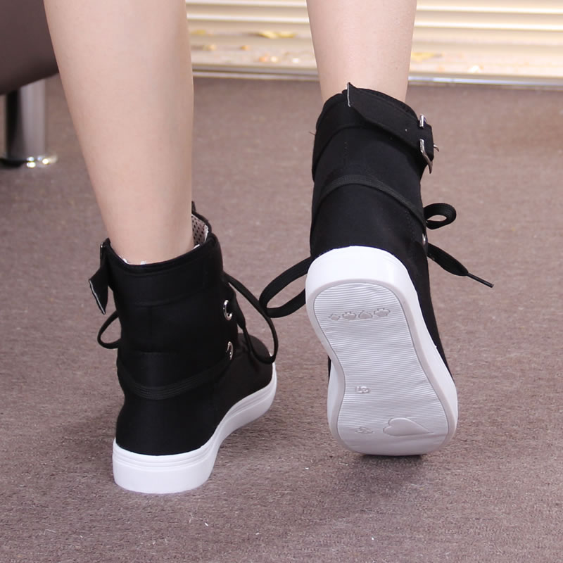 3f36efad800 HEVXM 2017 New Spring And Autumn Boots Women New Women Shoes Ankle Boot  Brand Flats Canvas Shoes Lace Up Fashion Casual Boots-in Ankle Boots from  Shoes on ...
