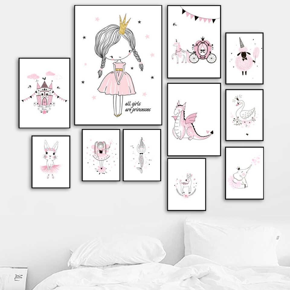 Casa decoração impressão pintura nordic menina animal castelo fotos arte da parede modular lona aquarela cartaz para fundo de cabeceira