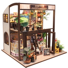 Doll House Miniature Diy Dollhouse with Furnitures Wooden Waiting Time Toys for Children Birthday Gift M027