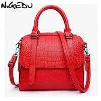 NIGEDU Brands Women Crocodile Handbag Quality PU Leather Women S Shoulder Bag Luxury Lady Office Bag