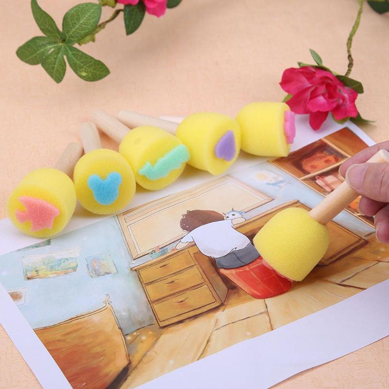 6pcs Yellow Sponge Paint Brush Seal Wooden Brush Children Graffiti Painting Toy Kids Craft DIY Doodle Drawing Toys Art Supplies
