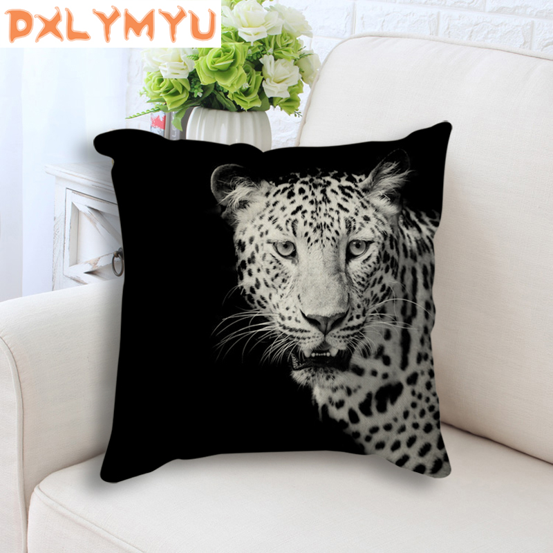 Giraffe Tiger Leopard Lion Elephant Painting Printed Decorative Throw Pillow Black Back Cushion for Sofa Kid Room Home Decor