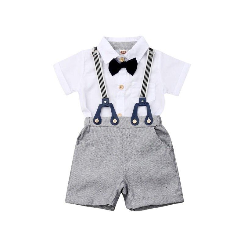 Baby Boys Kid Gentleman Formal Suit Shirt Suspenders Pants Wedding Party Outfits