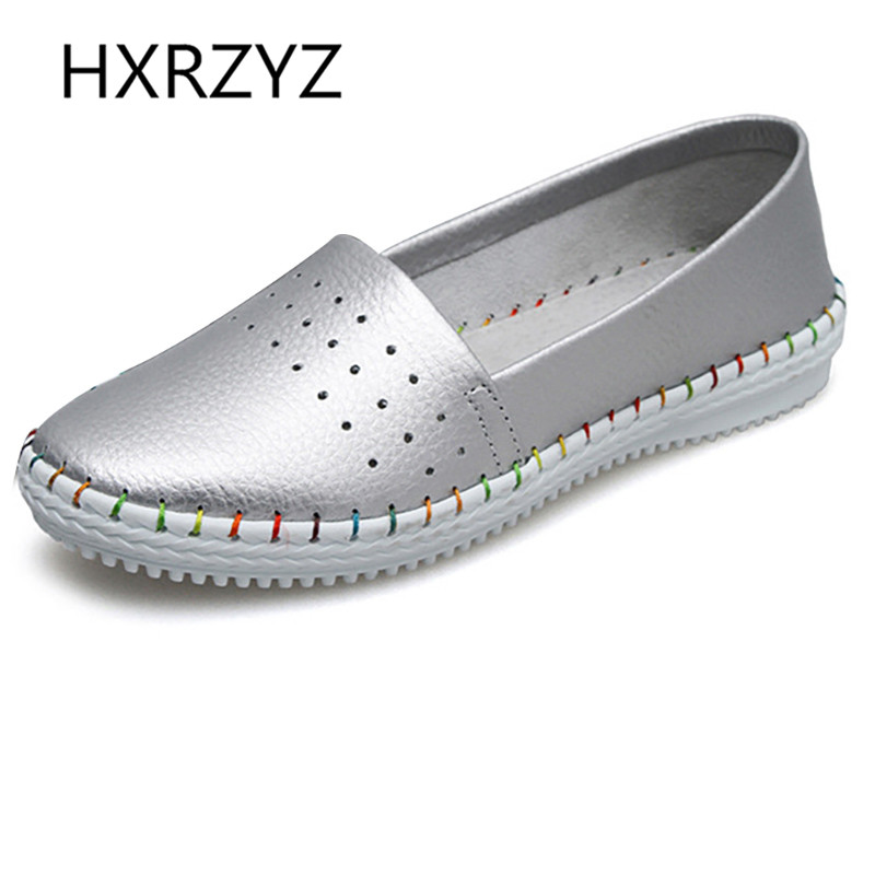 HXRZYZ fashion soft leather anti-skid casual flat shoes sother summer  autumn round toe slip - Popular Silver Flat Shoes-Buy Cheap Silver Flat Shoes Lots From