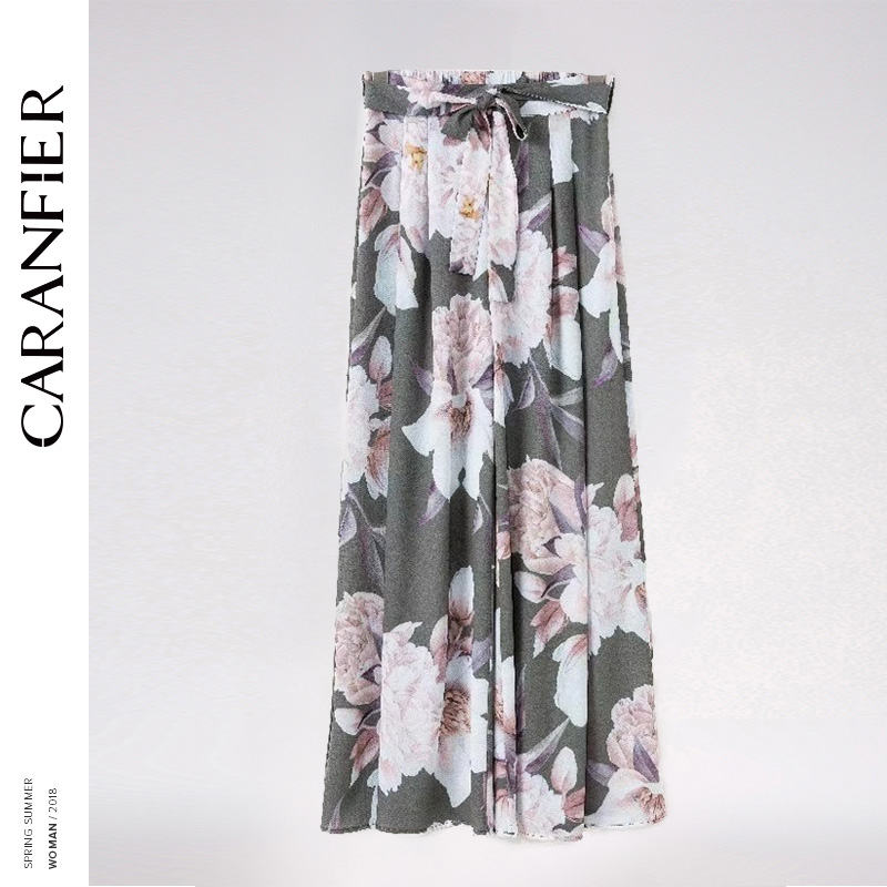 CARANFIER 2018 Printed Refreshing Loose Wide Leg Pants Female Spring and Summer Models Lace Trousers Wide Leg Pants High Waist