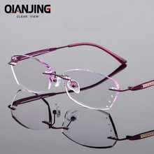 df74739bd16c Reading Glasses Women Fashion Rimless Eyeglasses Hyperopia HMC Coating Female  Eyewear Silver frames Woman Presbyopic Glasses