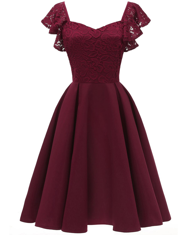 Butterfly Sleeve Burgundy Lace Cocktail Dresses Vestidos Elegant Short Formal Dress Party 2019 Homecoming Dress