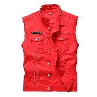 Newsosoo Red Black White Rivet Denim Vest Men Punk Slim Fit Coats Male Cowboy Waistcoat Man