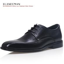 Elanroman мужские из натуральной нешлифованной кожи Черный Роскошная обувь Простой полноценно квадратный носок Мужские модельные туфли Бесплатная доставка DHL
