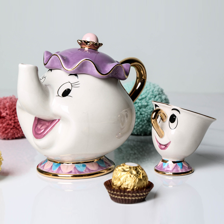 Cartoon Schönheit Und Das Biest Tee-Set Teekanne Mrs Potts TOPF Chip Tasse Becher Ein Satz für freund Kreative Weihnachtsgeschenk Schnelles Post