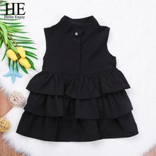 HE Hello Enjoy Summer Kids Clothing Girls Clothes Party Dress Sleeveless Cake Ruffled Bubble Dresses Children Girl Clothes 2019 все цены