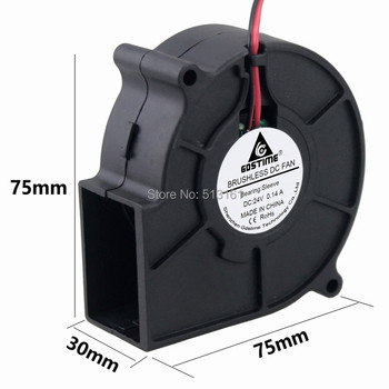 Gdstime DC 24V Blower Fan 75x75x30mm 7cm 7530 Centrifugal Radial Air Flow Cooling Cooler Fan 1pcs 7530 dc 5v 12v 24v projector blower centrifugal fan cooling fan 7cm fan 75x75x30mm blower cooler fan 5v usb blower fan