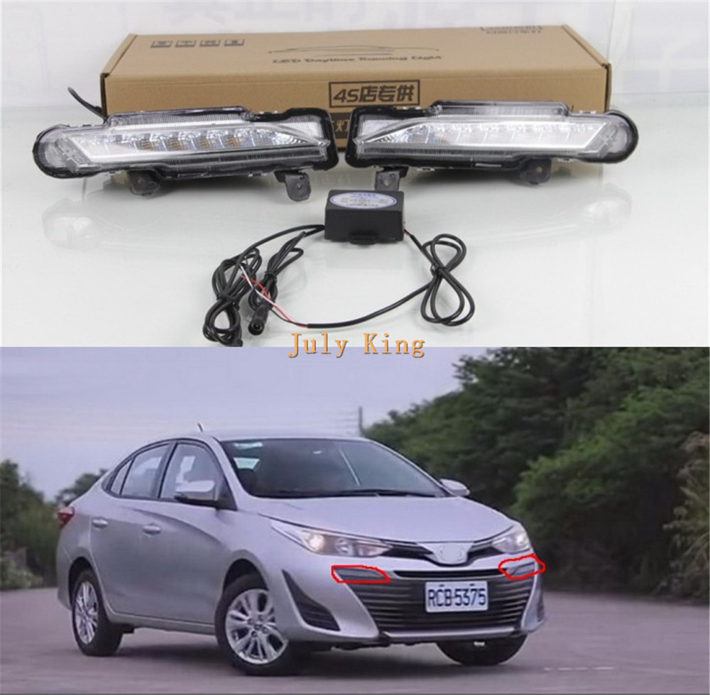 July King 1 Pair LED Daytime Running Lights case for Toyota Yaris ATIV 2017-2018, LED Front Bumper DRL, 1:1 Replacement july king led daytime running lights drl case for ford focus iii 2011 13 led front bumper light y type 1 1 replacement