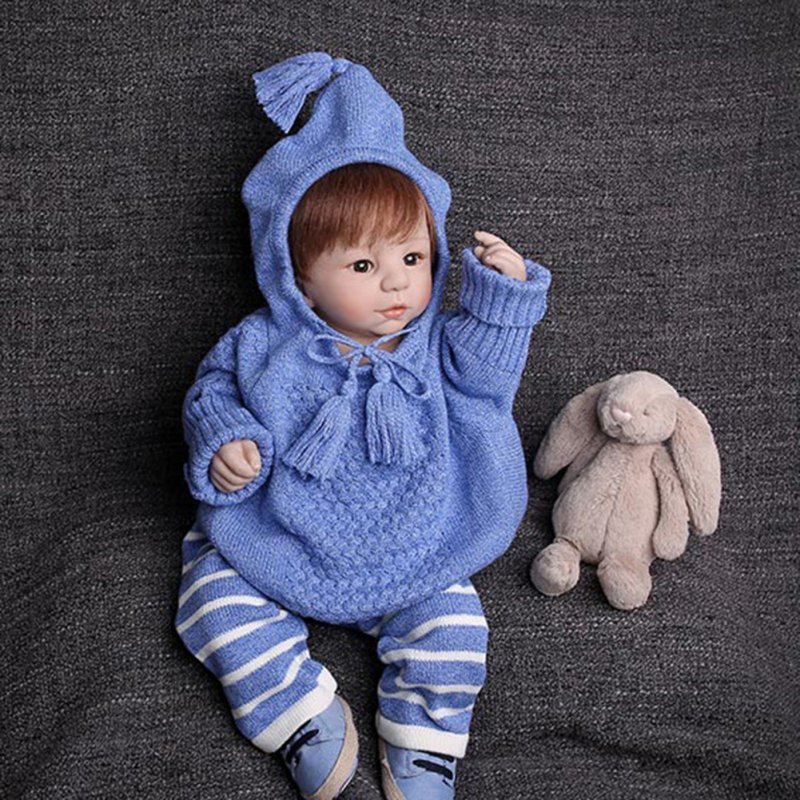 2Pcs 1-4Y For Kids Fashion Baby Girls Boys Knitted Crochet Outfits Hooded Sweater+Pants Suit Set