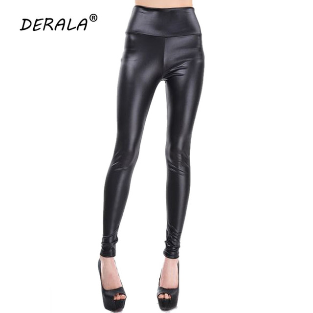 9027a53c7a52f1 2018 Ladies High Waist Plus Size Matte Faux Leather Leggings Women Black  Stretch PU Leather Leggings Fashion Skinny Pants Legins