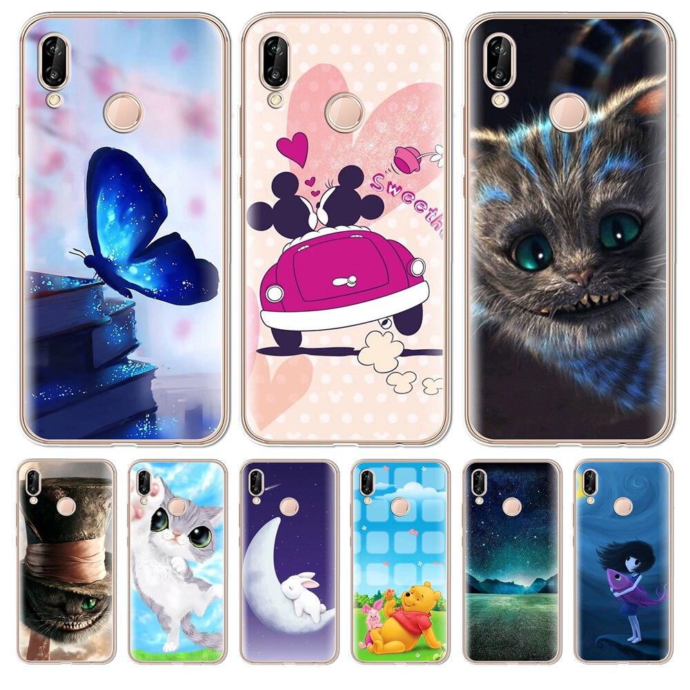 Mickey Minnie For Coque Huawei P8 P9 P10 P20 Smart Lite Plus Pro nova 3e Enjoy 7S Case shell Silicone etui Cheshire Cat cover