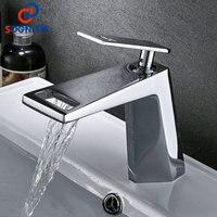 SOGNARE 2018 новый Chrome Ванная комната смеситель полые Форма ванны Водопад смесители одной ручкой воды смесителя холодной и горячей кран
