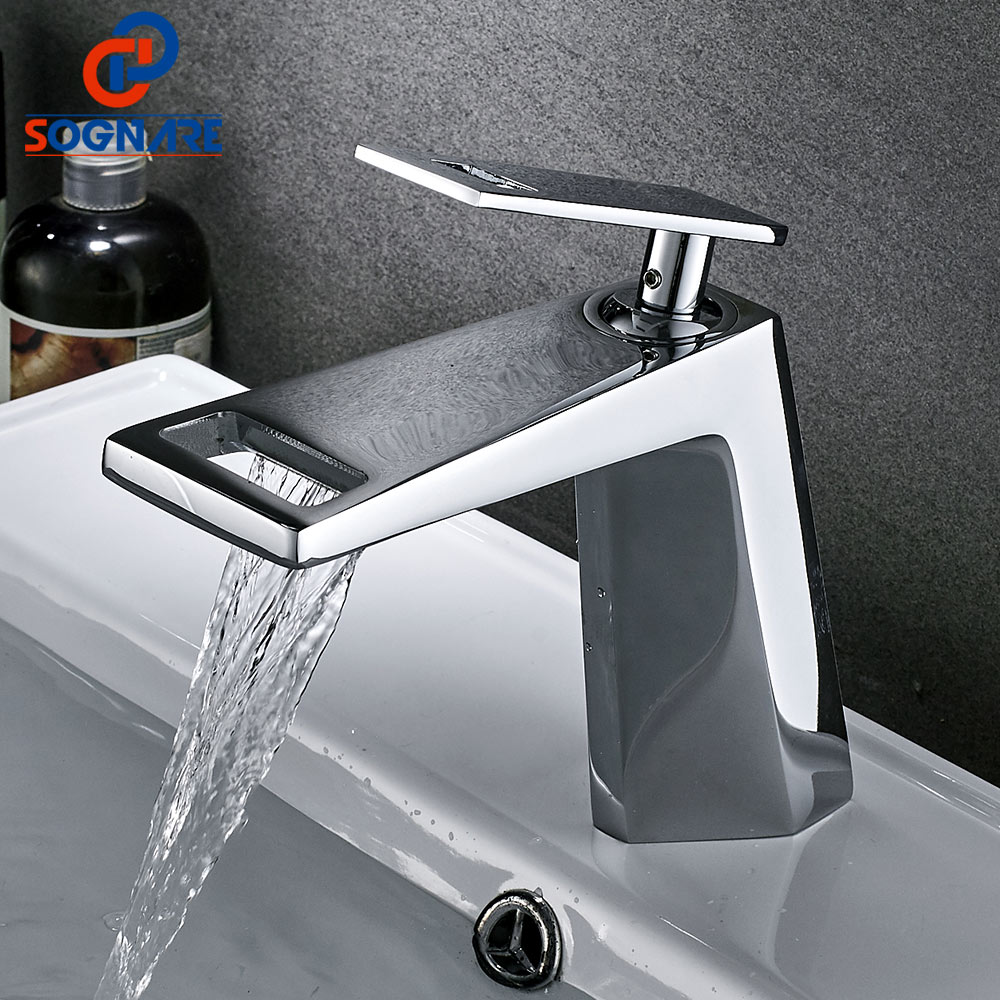 SOGNARE 2018 New Chrome Bathroom Basin Faucet Hollow Shape Bath Waterfall Faucets Single Handle Water Mixer Tap Cold Hot Crane micoe hot and cold water basin faucet mixer single handle single hole modern style chrome tap square multi function m hc203