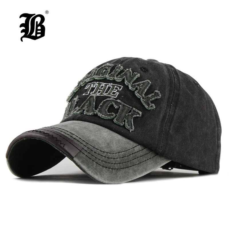 [FLB] Hot Retro Washed Baseball Cap Fitted Cap Snapback Hat For Men Bone Women Gorras Casual Casquette Letter Black Cap F122(China)