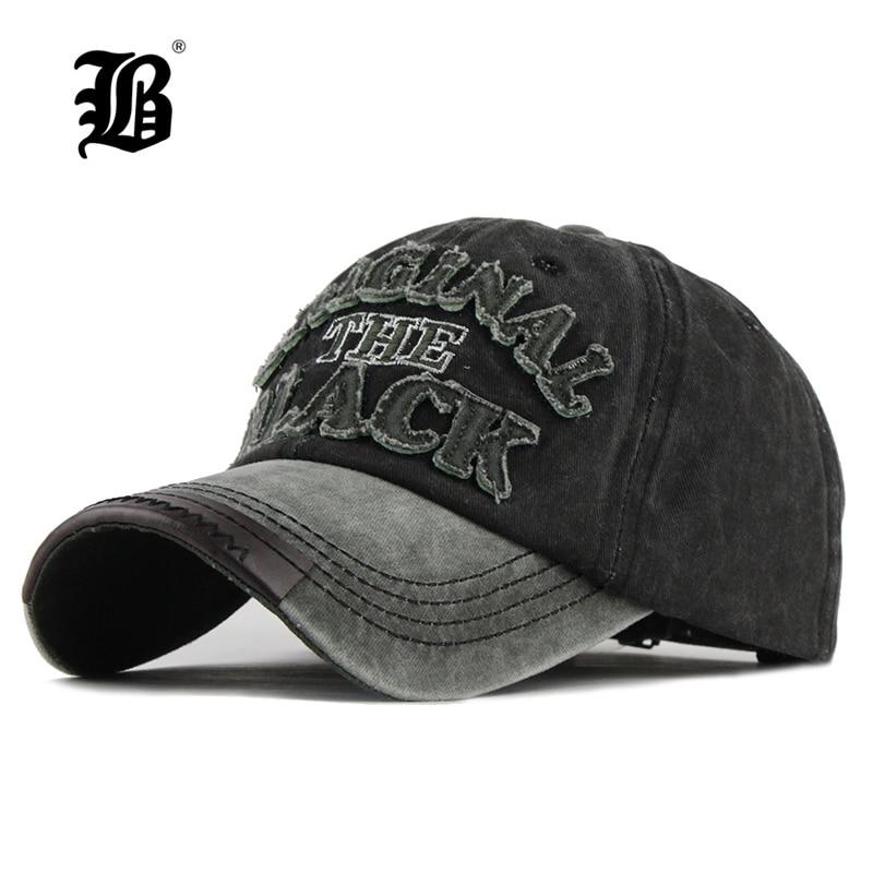 [FLB] caliente Retro lavado gorra de béisbol gorra Snapback sombrero para hombres hueso mujeres Gorras casuales Casquette carta tapa negra F122